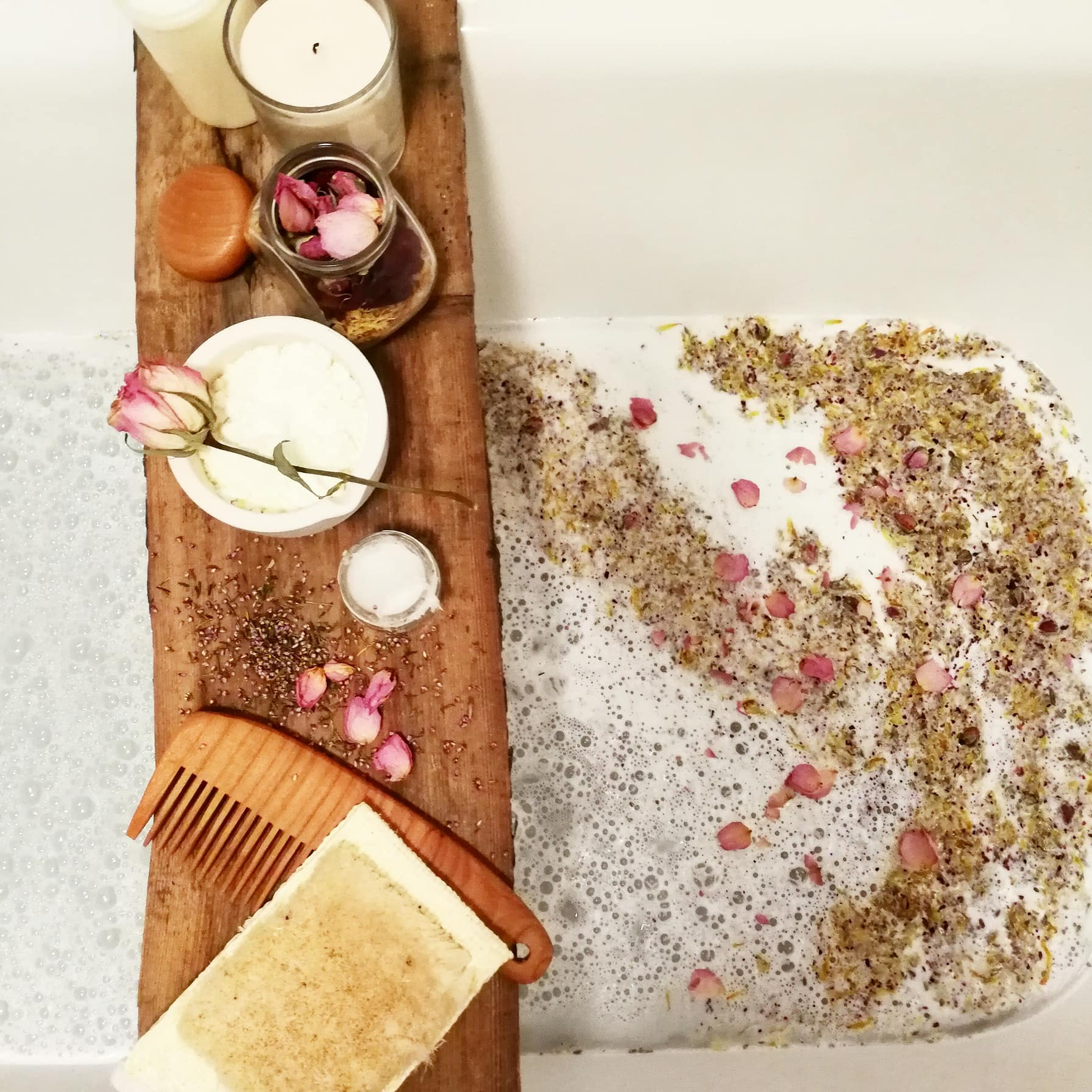 Relaxing herbal milk bath